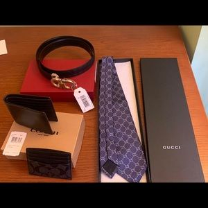 SALVATORE FERRAGAMO BELT, GUCCI TIE, COACH WALLET